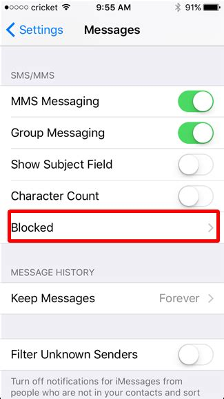 block text messages    number   iphone