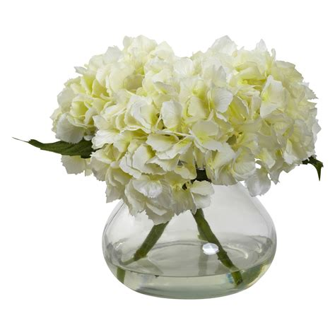 blooming vase nearly natural blooming hydrangea silk flower with glass vase silk flowers at hayneedle
