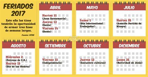 Calendario 2017 Feriados Costa Rica Diario 2017 Con 3 Fines De Semana Largos