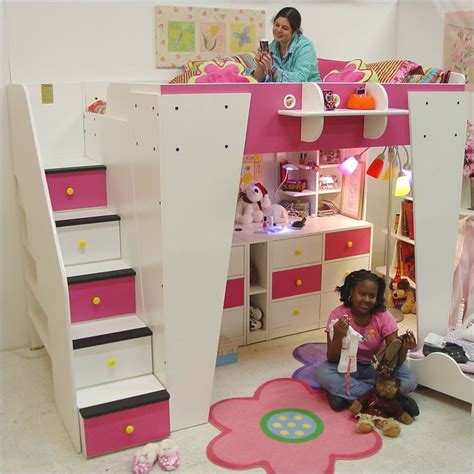 kids loft beds with stairs berg furniture kid s headquarters loft bed with storage