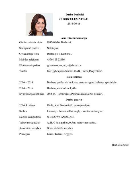 cv pavyzdys darbui word doc pdf šablonai