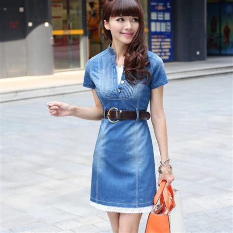 Dress Denim Careena Belt s brief fashion denim dress with belt slim fit sleeves jean dress