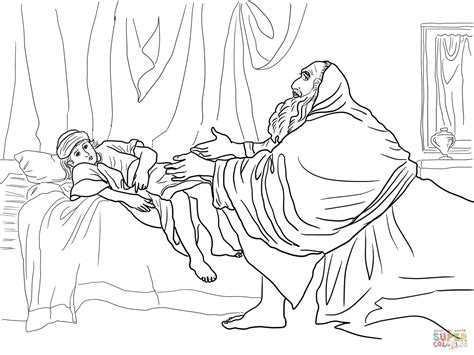 elijah prays for the widow s son coloring page free