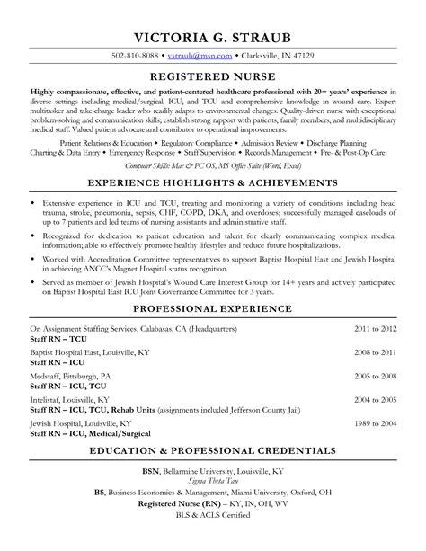 Medical Surgical Nurse Resume RN Resume Examples for Med