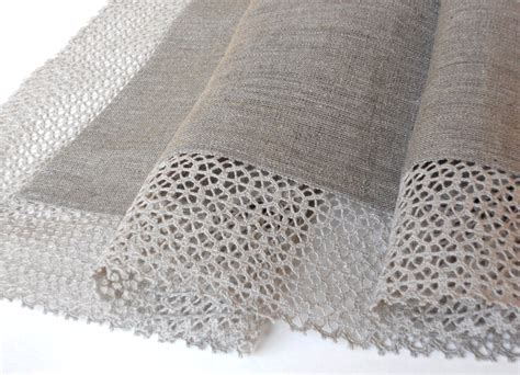 Linen Table Cloth by Gray Linen Tablecloth With Wide Linen Lace Linen