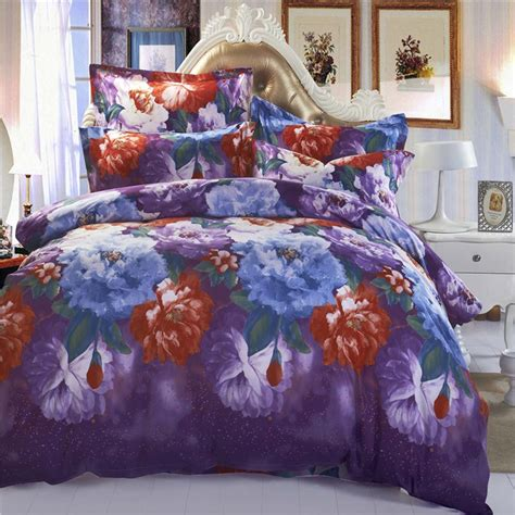 3d Bedding Sets Sale Mingjie Colourful Flowers Purple 3d Bedding Sets Size Bed Linen China Home