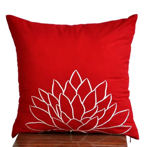 throw pillow slipcovers white lotus throw pillow coverdecorative pillow cover red