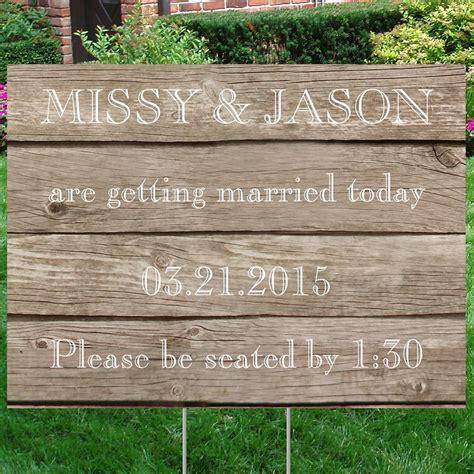 wedding yard signs wood grain yard sign invitations by