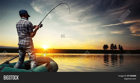 man fishing in boat mature man fishing boat on pond image photo bigstock