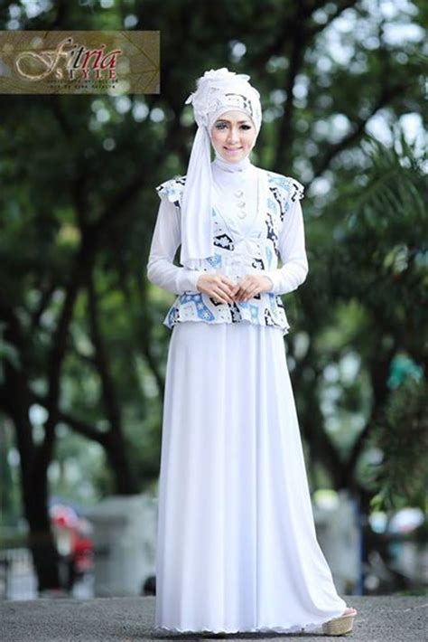 Dress Jersey Berlengan azarine by fitria style putih baju muslim gamis modern