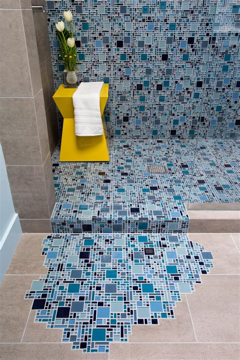 photos hgtv blue bathroom with mosaic glass tile blue glass mosaic tile with puddling effect on floor