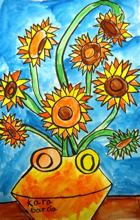 libro van gogh basic art another great van gogh sunflower day 1 directed drawing in pencil and outline all in sharpie