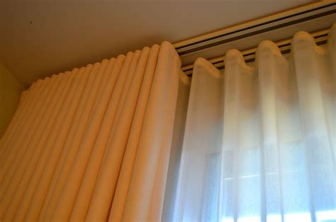 over door curtain rail double track detail of ripplefold drapery with sheers