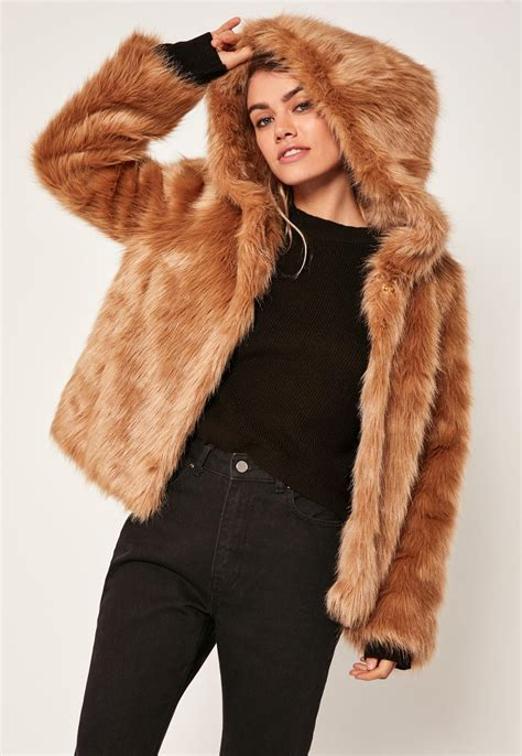 Faux Fur Hooded Coat missguided camel hooded faux fur coat in multicolor lyst