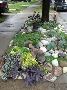 Rock Garden Ideas For Small Yards Diy Low Maintenance Rock Garden No Link This Is For A Roadside Spot Succulents