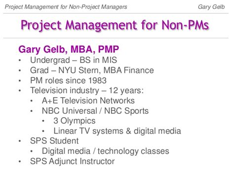 Nbc Universal Mba Program by Project Management For The Non Project Manager