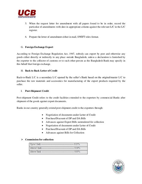 United Bank Limited Letter Of Credit Internship Report On United Commercial Bank Ltd