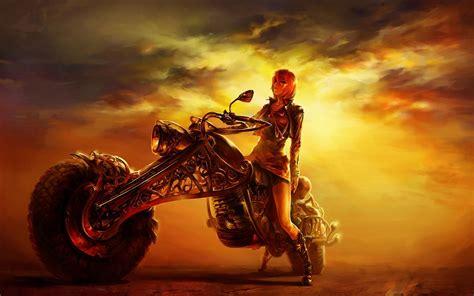 Fantasy Motorrad Bilder by Girl And Bike Wallpaper 77 Images