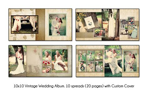 vintage 10x10 quot album template 10 spread 20 page design