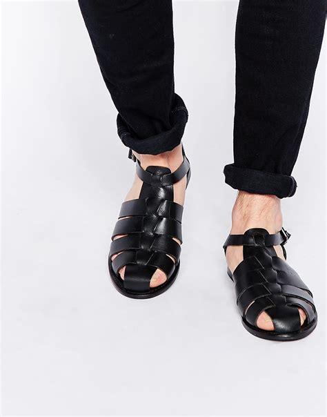black mens sandals lyst asos gladiator sandals in leather in black for