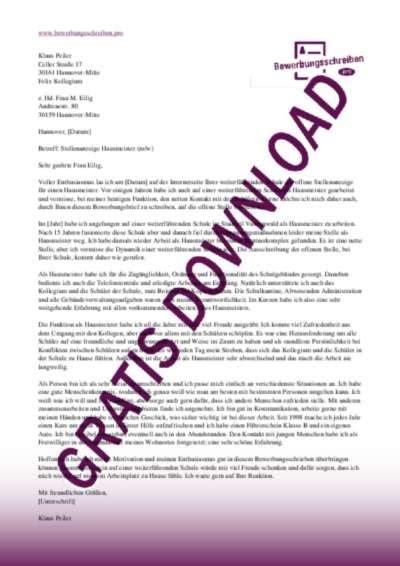 Initiativbewerbung Anschreiben Rezeptionistin bewerbungsschreiben hausmeister