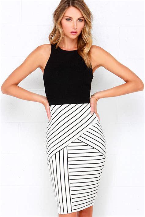 Two Pieces Design Stripe Style Dress Black pretty black and ivory dress striped dress midi dress 54 00