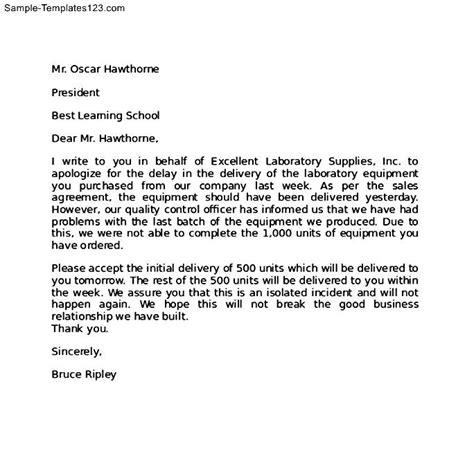Apology Letter To Customer For Wait Apology Letter To Client For Delay In The Delivery Of Laboratory Equipment Thogati