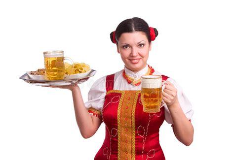 wwwweihnachs bier von mönchshofer de deutsche bayerische frau mit bier stockfoto bild getrennt kleidung 14238508