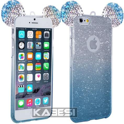 coque silicone kaeesi 174 pour iphone 6 6s oreilles de mickey strass bleu achat coque bumper
