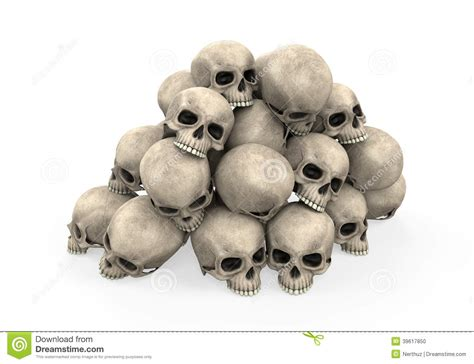 pile  skulls stock illustration image