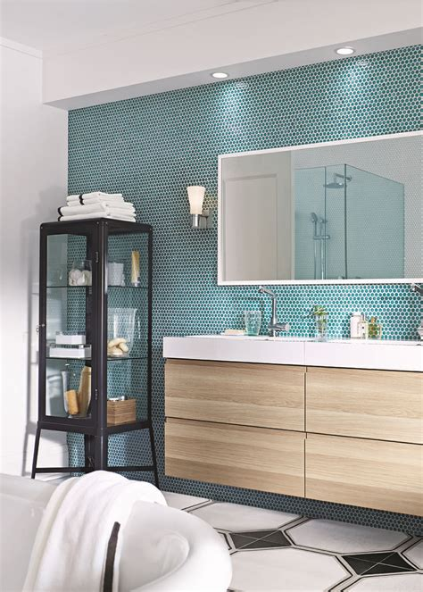 feature wall bathroom ideas ikea used world mosaic s penny rounds in turquoise for a