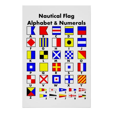 free nautical printable letters nautical flag alphabet numerals poster zazzle