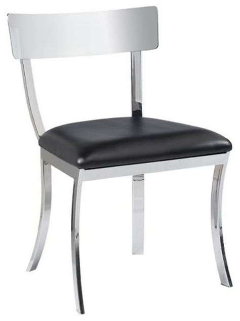 Dining Chair Construction by Chrome Finished Steel Construction Dining Chair Black