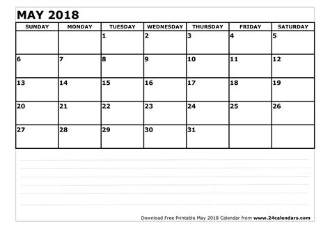 Calendar 2018 May Month May 2018 Calendar Printable