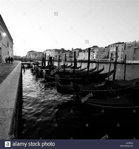 Venice Black gondolas grand canal venice black and white stock photos