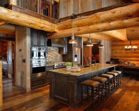 rustic cabin kitchen cabinets small log cabin kitchens houzz