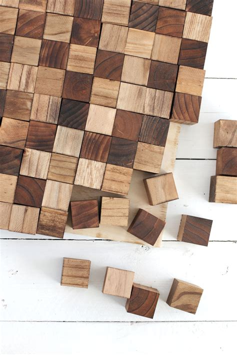 create a wooden mosaic wall art with simple supplies you