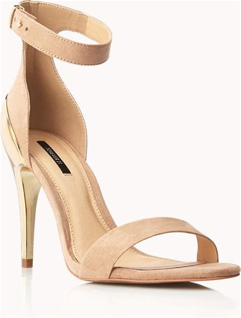 forever 21 sandals forever 21 metal heel sandals in beige taupe lyst
