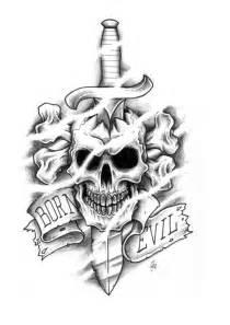 Burn evil skull n dagger tattoo design tattoobite com