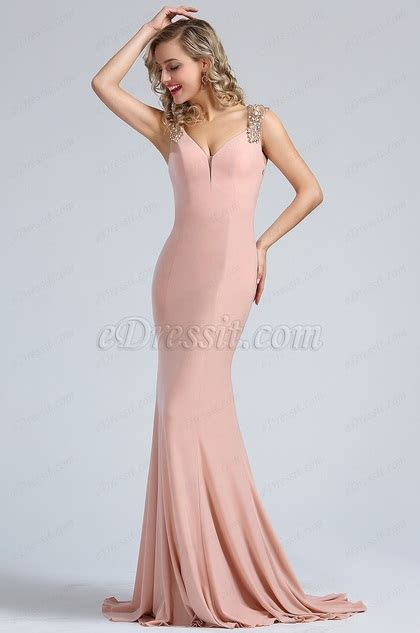 beaded blush dress edressit blush beaded mermaid formal dress 36173546