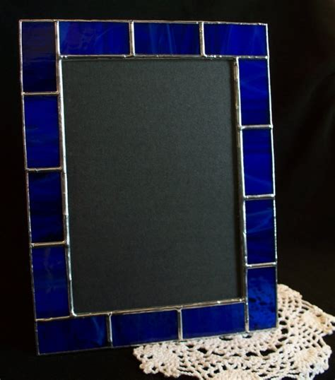 5x7 cobalt blue stained glass picture frame