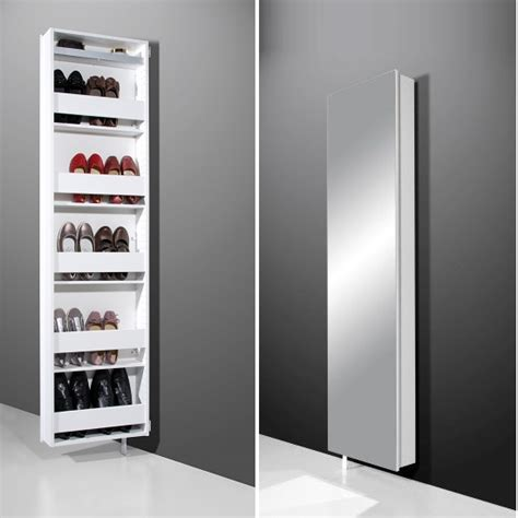 mirror shoe storage igma mirrored rotating shoe storage cabinet in white 6958