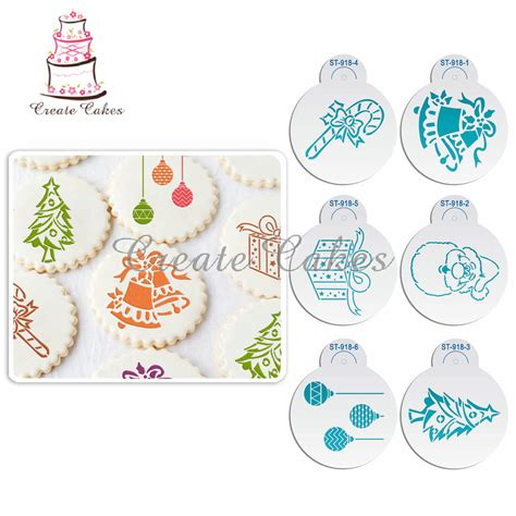 christmas tree cake pattern 6pcs christmas stencils ୧ʕ ʔ୨ template template for