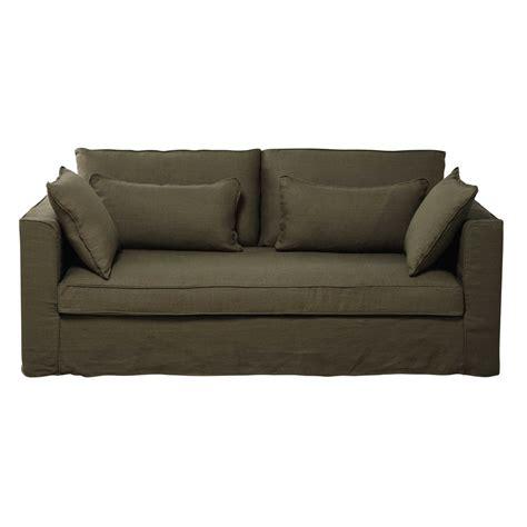 divano verde divano verde oliva in lino slavato 3 posti zoe maisons