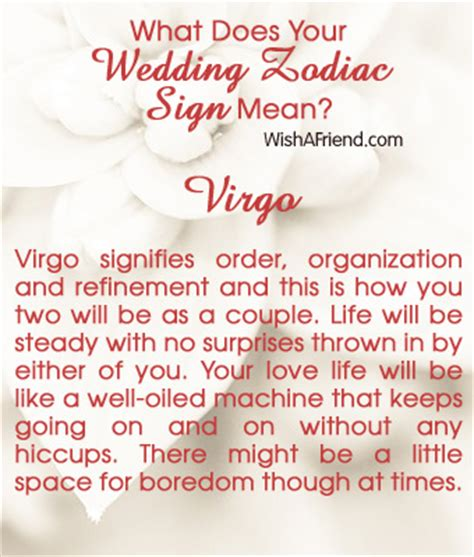 what does your wedding zodiac sign mean virgo