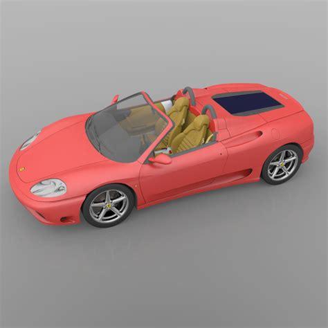 ferrari coupe models ferrari 360 spider 2000 3d model obj 3ds cgtrader com