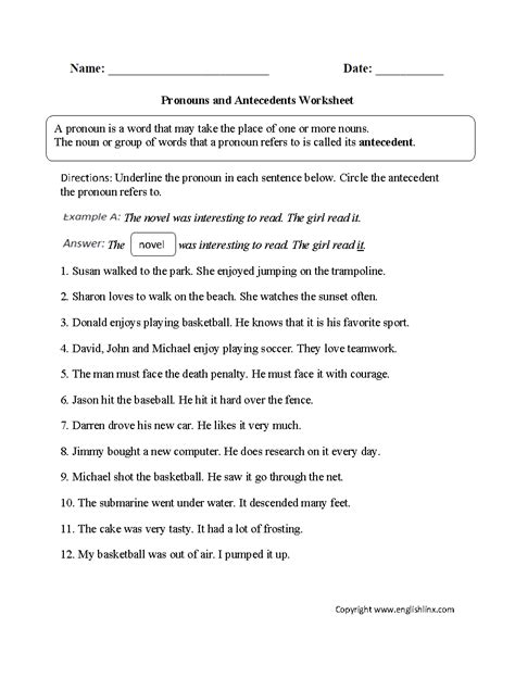 Pronouns And Their Antecedents Worksheet by Word Usage Worksheets Pronoun Agreement Worksheets