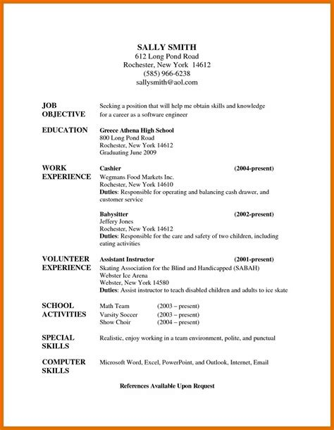 babysitting resume sowtemplate