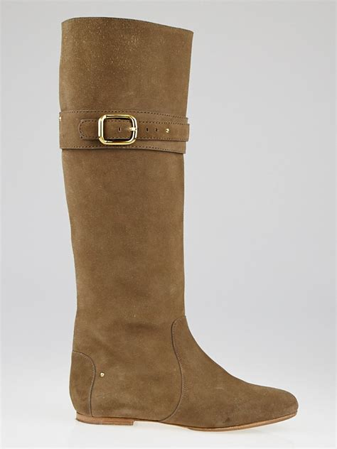 beige suede knee high flat paddington boots size 7