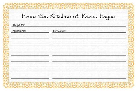 recipe template word recipe card templates